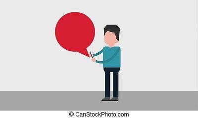 people device social media - man talk speech bubble...