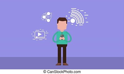 people device social media - man using mobile device social...