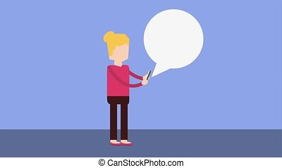 people device social media - woman with mobile speech bubble...