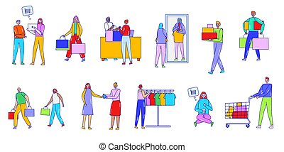 People do shopping, buy on sale, vector illustration, line art, characters, isolated on white, buy goods in the shop and online store, seller help customers.