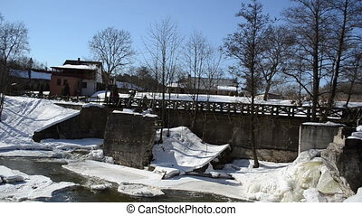 people dogs winter bridge