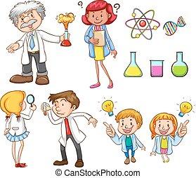 People doing different science activities