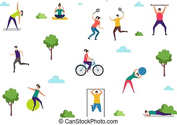 People doing sport exercises. Outdoor activities, woman man training in park. Yoga fitness stretching vector illustration