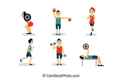 People doing sport exercises set, men and women training with barbell, dumbbell, running, doing fitness and yoga exercises, active healthy lifestyle concept vector Illustration