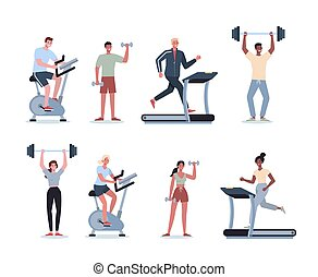 People doing sport set. Collection of different sport activity. Young