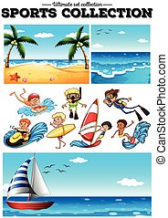People doing water sports and beach scences illustration