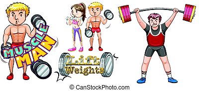 People doing weightlifting on white background