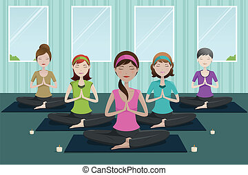 People doing yoga in a yoga studio - A vector illustration ...