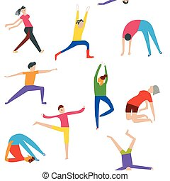 People doing yoga seamless pattern - funny design, vector...