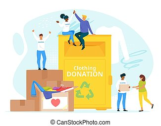 People donating clothes to charity together flat vector illustration