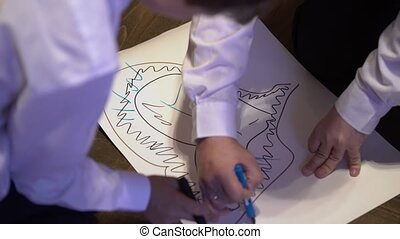 People draw picture on paper