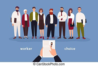 People dressed in office clothing standing in row in front of person with CV in hands. Concept of choice of worker, staff recruitment or employee hiring. Flat cartoon colorful vector illustration.
