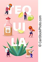 People Drinking Tequila Concept. Tiny Characters with ...