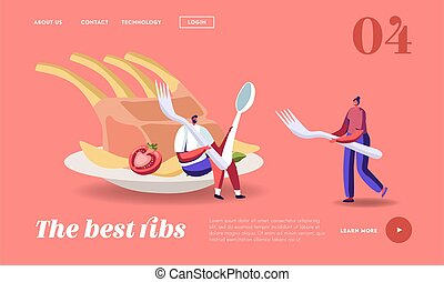 People Eat Food Landing Page Template. Tiny Characters at ...