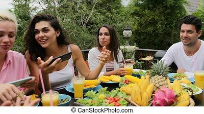 People Eat Healthy Vegetarian Food Talk Using Cell Smart...