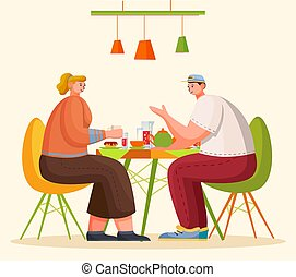 People Eating and Talking on Kitchen or in Cafe