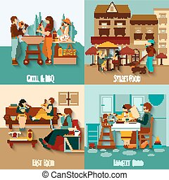 People Eating Out - People eating out design concept set...