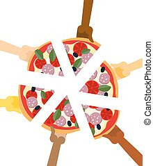 People eating pizza. Hands holding slice of pie. Friendship ...