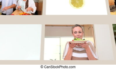 People eating vegetables and health
