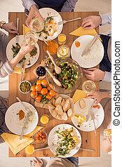 People eating vegetarian dinner