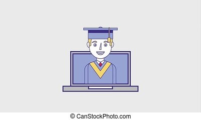 people education graduation online - graduate man on laptop...