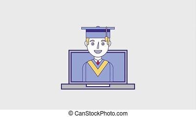 people education graduation online - graduate man on laptop...