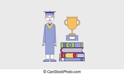 people education graduation online - graduate man pile books...