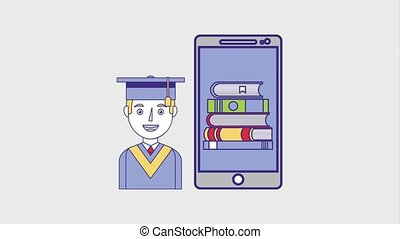 people education graduation online - graduate man smartphone...