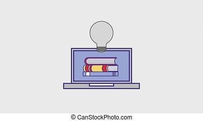 people education graduation online - laptop stack books bulb...