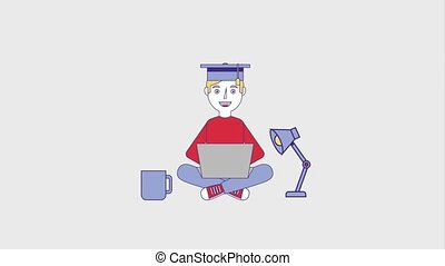 people education graduation online - man student with laptop...