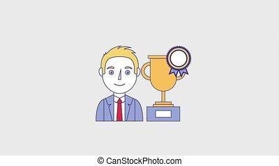 people education graduation online - portrait man trophy...