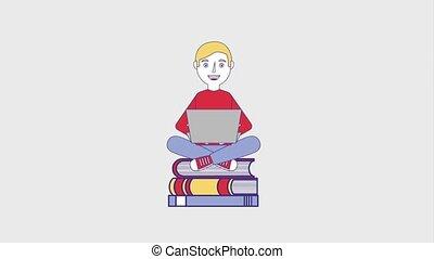 people education graduation online - student man sitting...