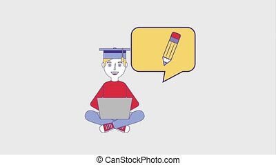 people education graduation online - young man student with...