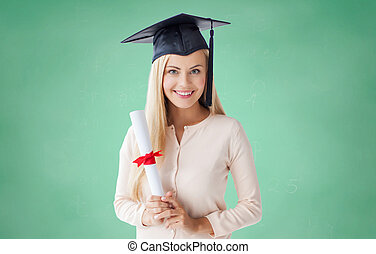 happy student girl in bachelor cap with diploma