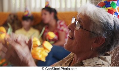 People Enjoy Birthday Party With Friends In Geriatric Hospital