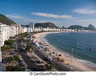 Copacabana Beach, Rio de Janeiro - People enjoying a summer...