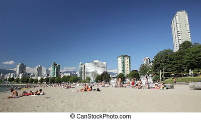 People enjoying First Beach / Sunset Beach