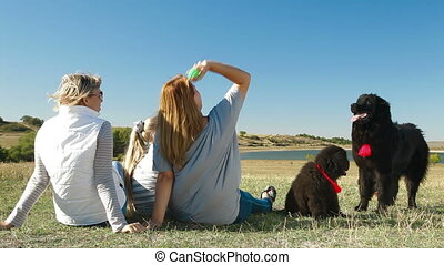 People Enjoying Outdoor With Pets