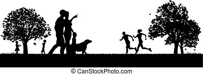 People Enjoying the Outdoors Park Silhouettes