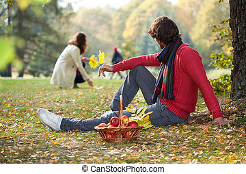 People enyoying autumn