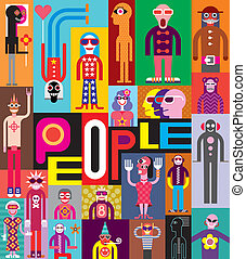 People. Art composition of abstract portraits. Vector design...