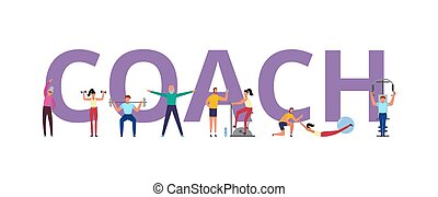 People exercising under supervision of trainer flat vector illustration isolated.