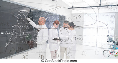 people experimental studies in lab - close-up seen trough a...