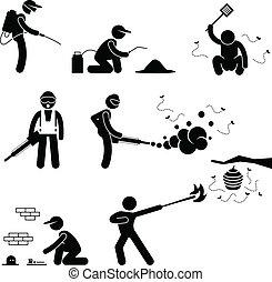 People Exterminator Pest Control - A set of pictogram...