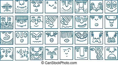 People face cartoon vector icons
