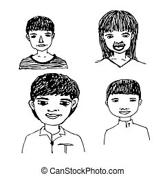 People face hand draw