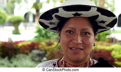 People Faces Ecuador Saraguro Woman - Close up portrait shot...