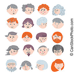 People faces funny set cute design
