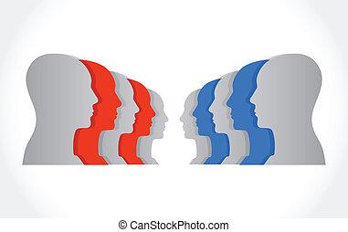 people facing each other illustration design
