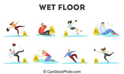 People falling on the wet floor set. Caution sign
